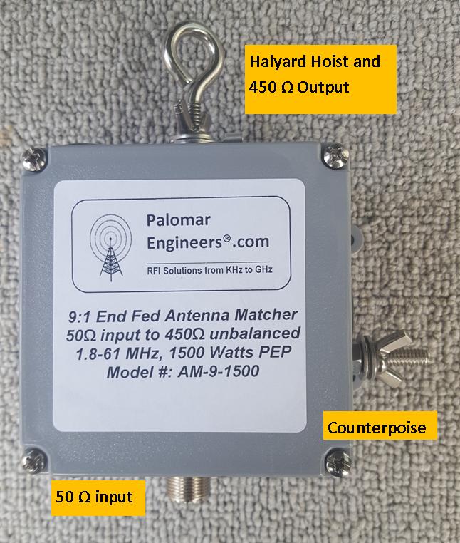 End Fed Antenna Matcher (9:1) CUBE™ Unun, 1.5KW - 1.8-61 MHz AM-9-1500