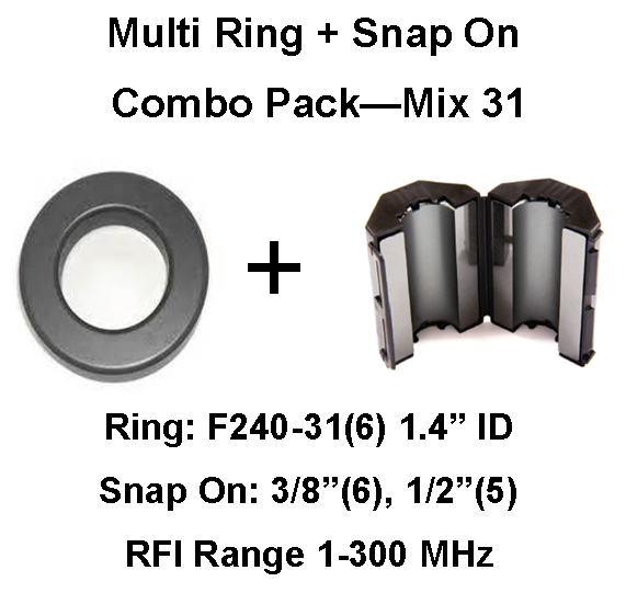 RV/Trailer Multi-Ring/Multi-Snap On Combo Pack, Mix 31, RFI Range 1-300 MHz - 17 filters RVCP-31-17