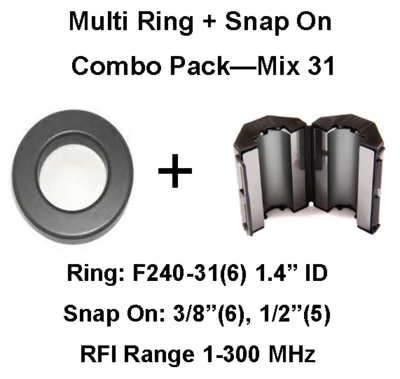 RV/Trailer Multi-Ring/Multi-Snap On Combo Pack, Mix 31, RFI Range 1-300 MHz - 17 filters