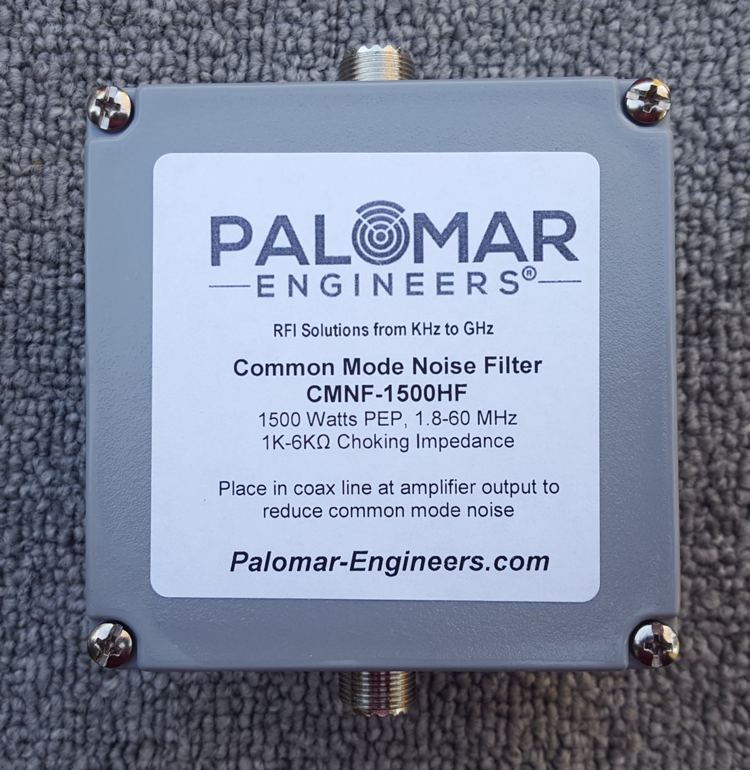 Coax Common Mode Noise Filter - 1500 Watts, 1.8-60 MHz