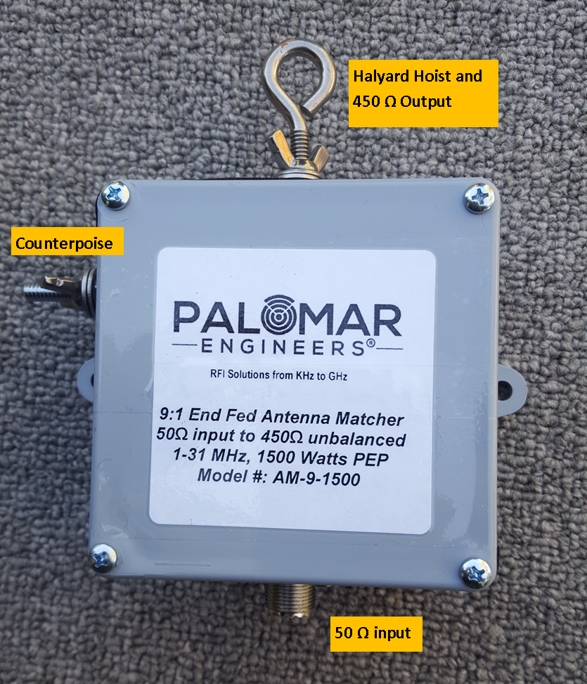End Fed Antenna Matcher (9:1) CUBE™ Unun, 1.5KW - .6-60 MHz