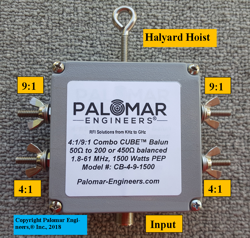 Multi Ratio 50:200 (4:1) & 50:450 (9:1) CUBE™ Balun, 1.8-61 MHz, 1.5 KW CB-4-9-1500