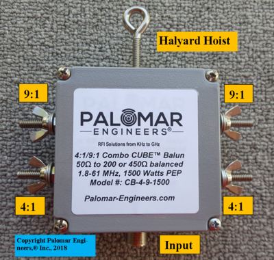 Multi Ratio 50:200 (4:1) & 50:450 (9:1) CUBE™ Balun, 1.8-61 MHz, 1.5 KW