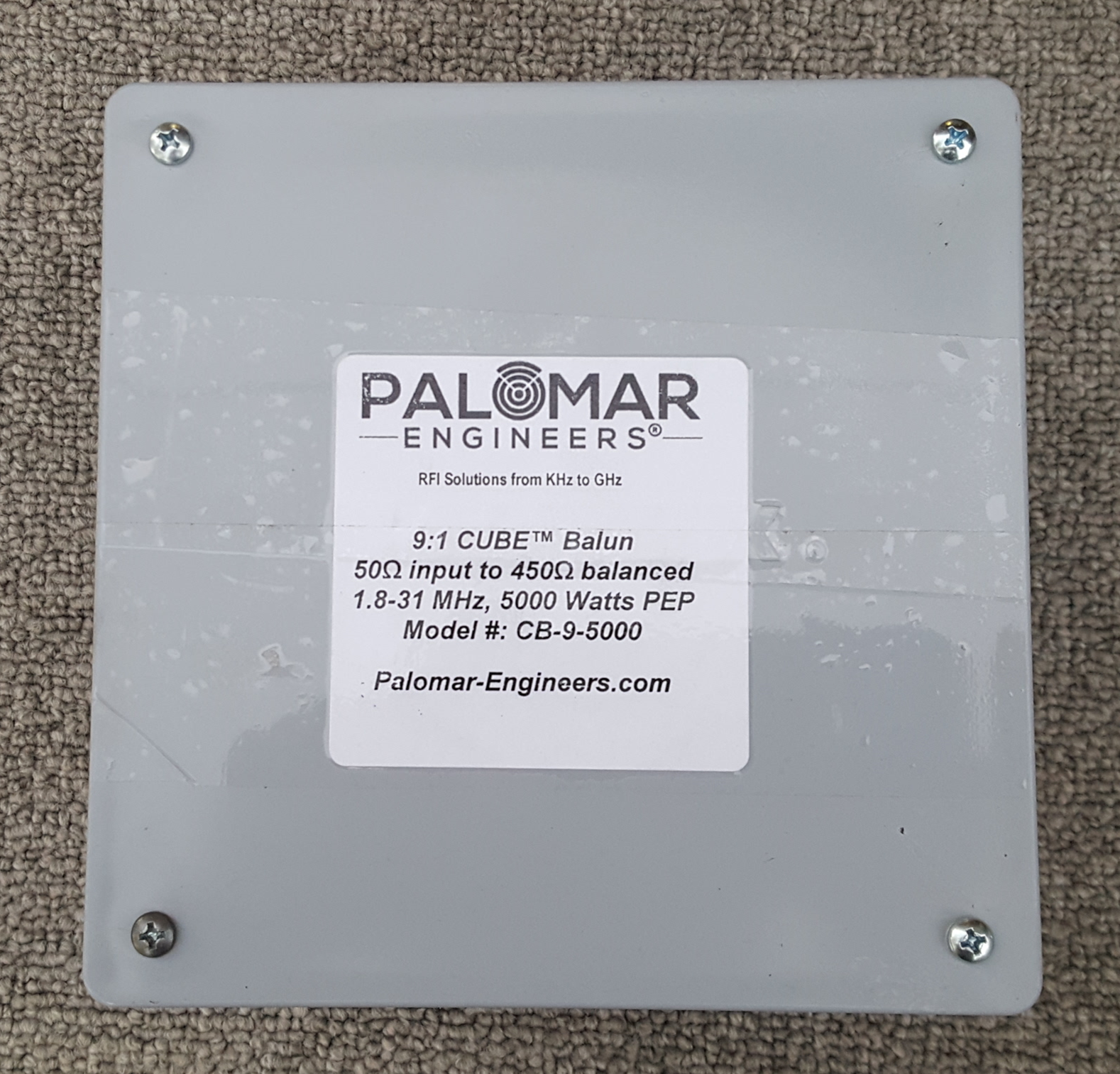 50:450 ohm (9:1) CUBE™ Balun, 1.8-31 MHz, 5 KW, ladder line, ZEPP, T2FD CB-9-5000