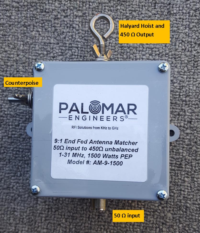 50:450 ohm (9:1) CUBE™ Unun, 1.8-61 MHz, 1.5 KW, End Fed CU-9-1500