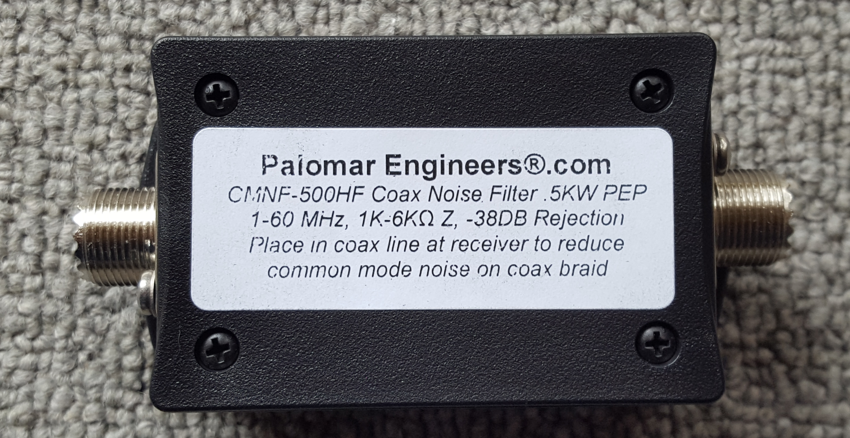 Coax Common Mode Noise Filter - 500 Watts PEP, 1-60 MHz CMNF-500SHF