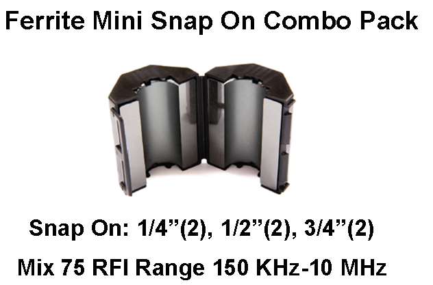 Ferrite Mini Snap On Combo Pack, Mix 75, RFI Range 150 KHz-10 MHz - 6 filters FMSCP-75-6
