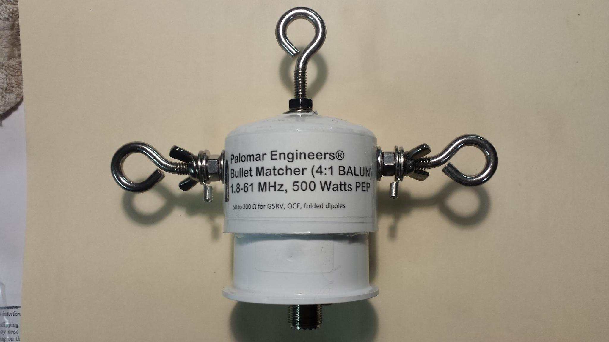 Bullet 50:200 (4:1) HF Balun, 1.8-61 MHz, 500 Watts PEP, Loop, OCF, ZEPP Bullet-4B