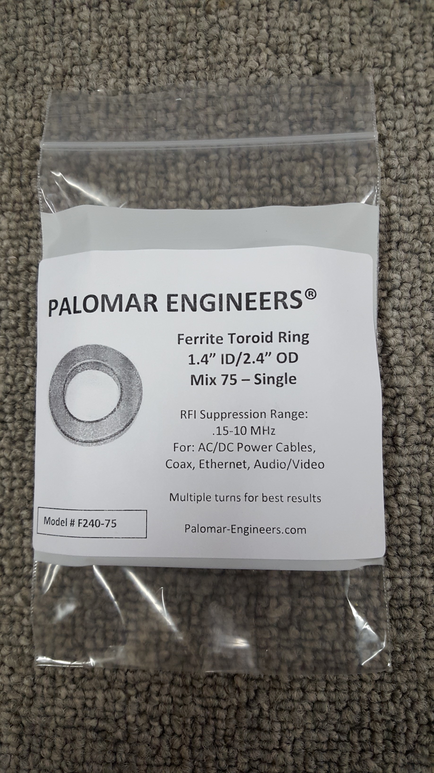"Ferrite Ring Combo Pack, FT240 - 1.4"" ID, 10 Ferrites - Mix 31, 61, 75, RFI Range .15-2000 MHz"