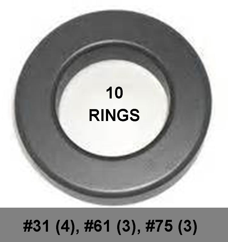 "Ferrite Ring Combo Pack, FT240 - 1.4"" ID, 10 Ferrites - Mix 31, 61, 75, RFI Range .15-2000 MHz FRCP-240-10"