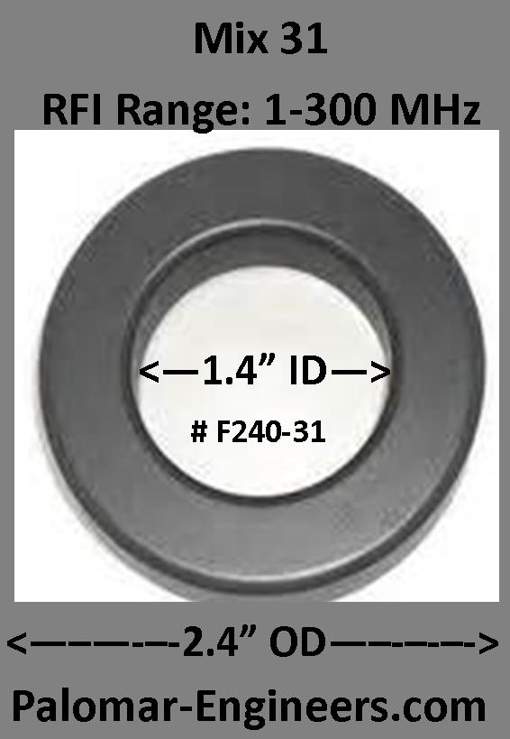 "FT240-3I, ID=1.4"",  AC/DC/Coax Noise Filter, RFI Range 1-300 MHz F240-31-1"