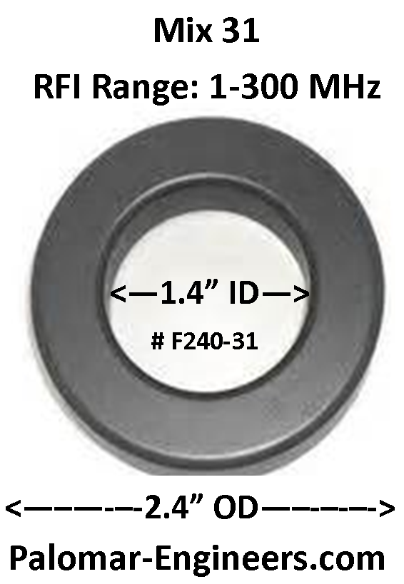 "FT240-3I, ID=1.4"",  AC/DC/Coax Noise Filter, RFI Range 1-300 MHz, Bulk Pack of 10 F240-31-10"