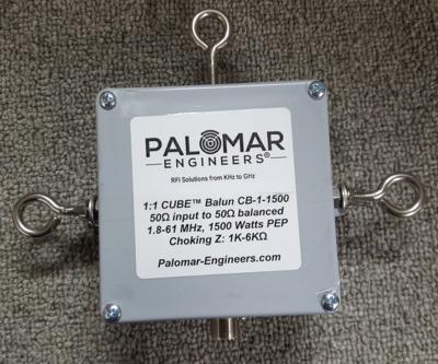 CUBE 1:1 Feed Line Choke Balun, 1.5KW, 1.8-61 MHz Eyebolt Version - Dipoles