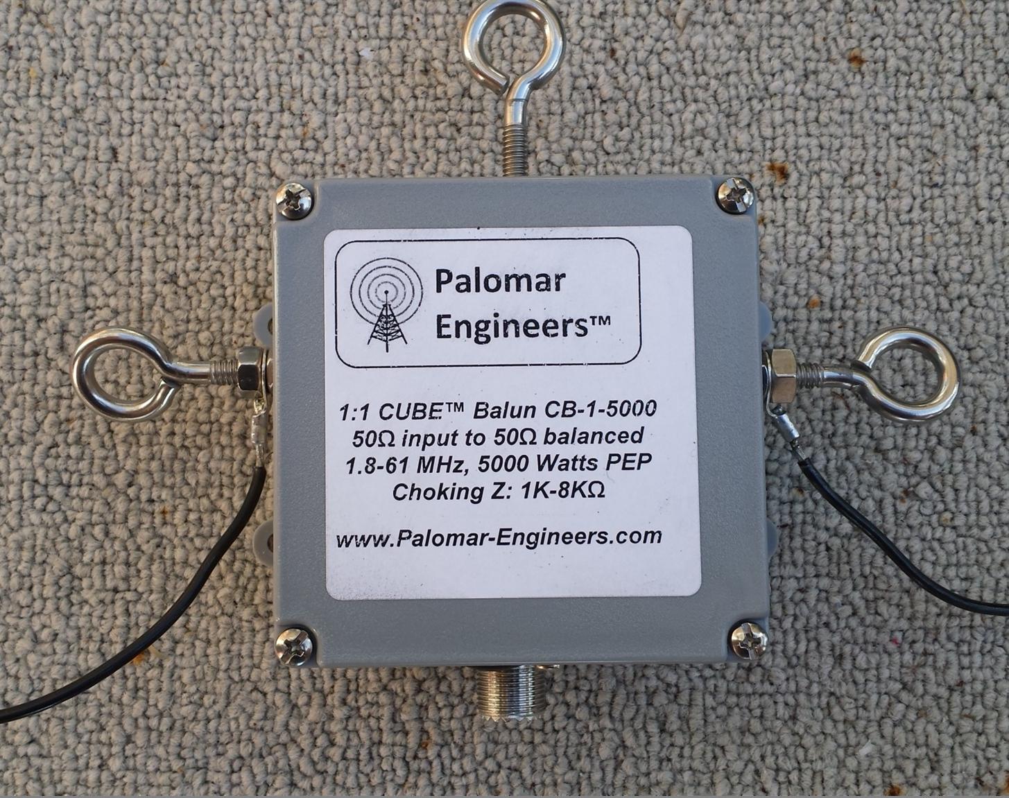 CUBE Feed Line Choke Balun, 5KW, 1.8-61 MHz Eyebolts/Top Studs Dipole CB-1-5000
