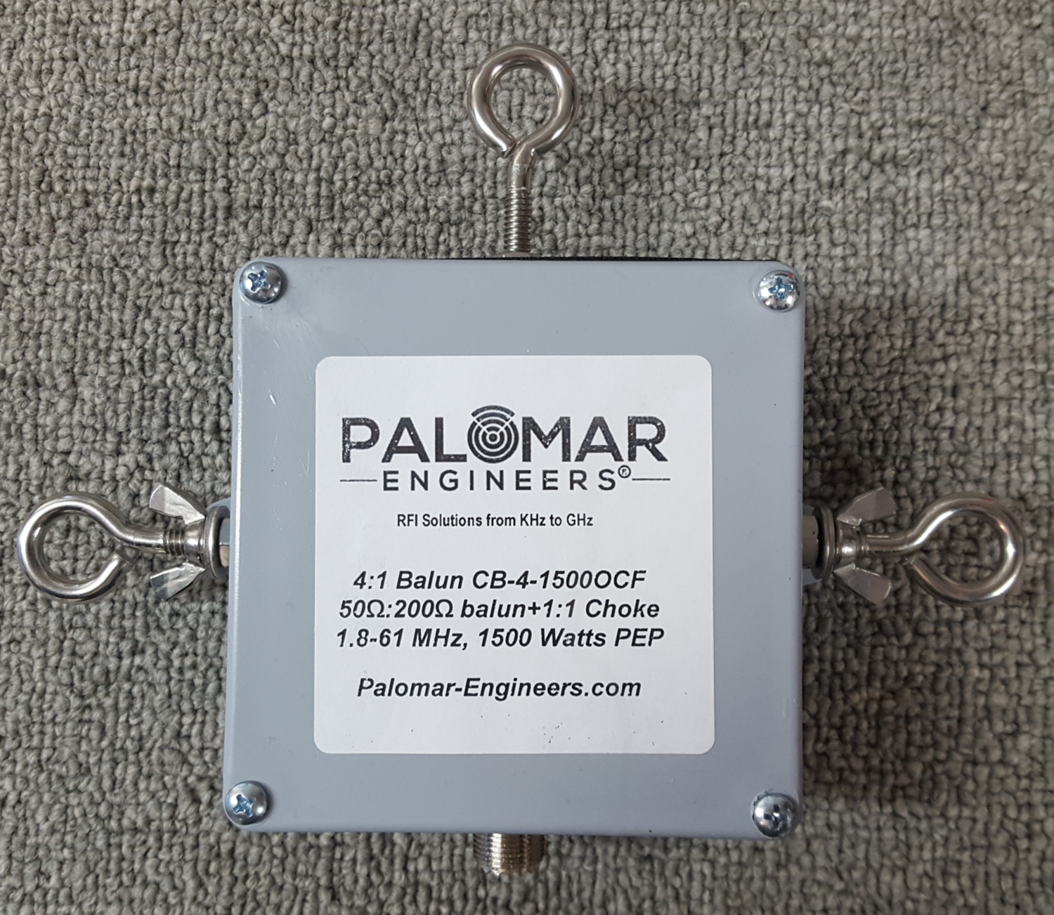 Off Center Fed (OCF) 4:1 Balun and Choke Combo, 1 8-61 MHz, 1 5/3/5KW PEP