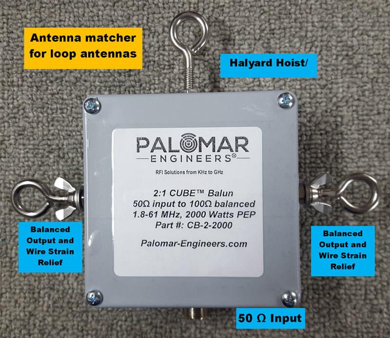50:100 (2:1) CUBE™ Balun/Unun  1.8-61 MHz, 2KW/4KW, Loop Antennas