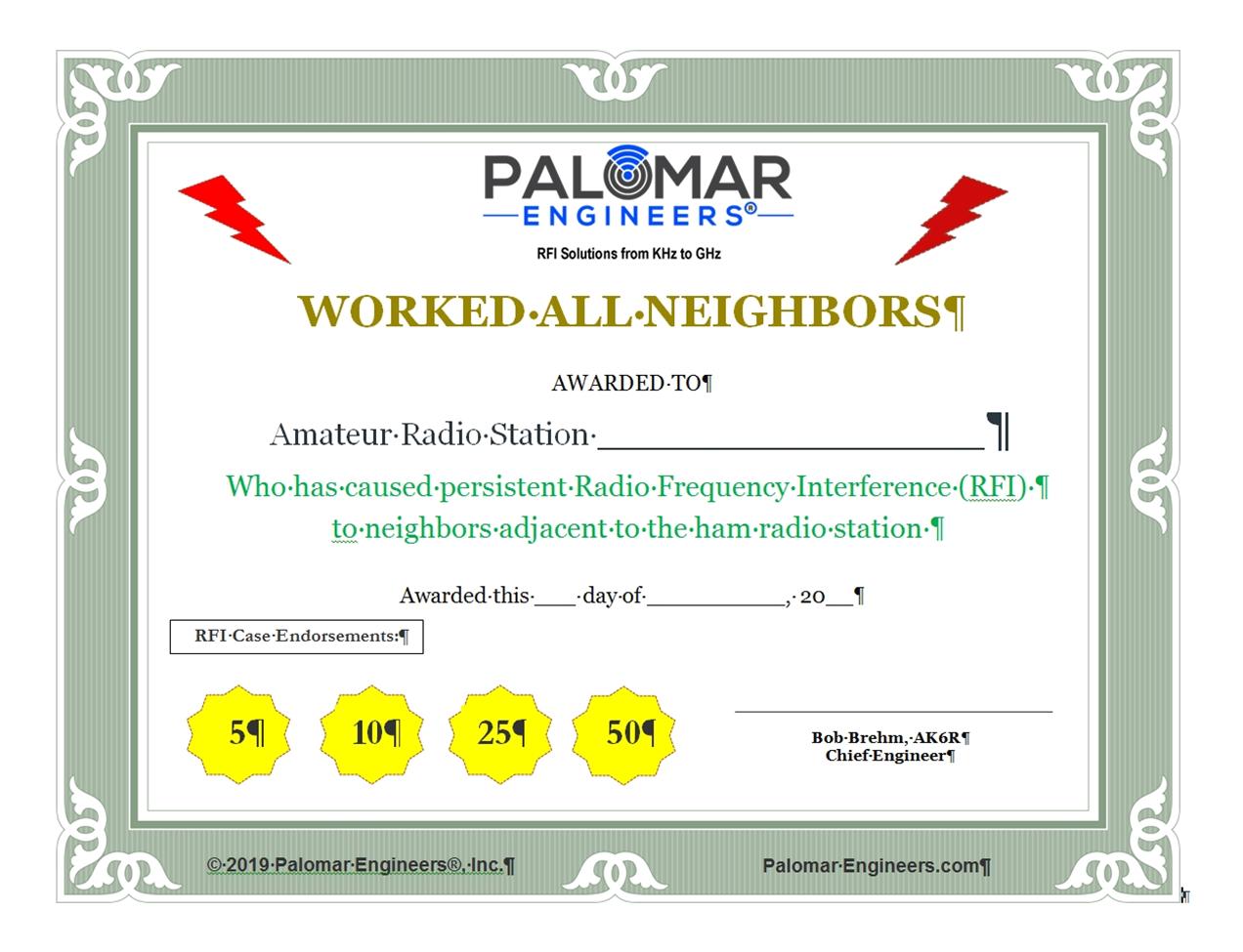 Work All Neighbors Award Certificate - Download WANA