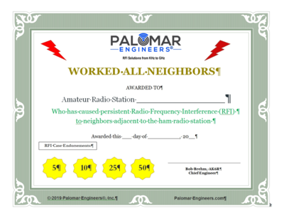 Work All Neighbors RFI Award Certificate - Download