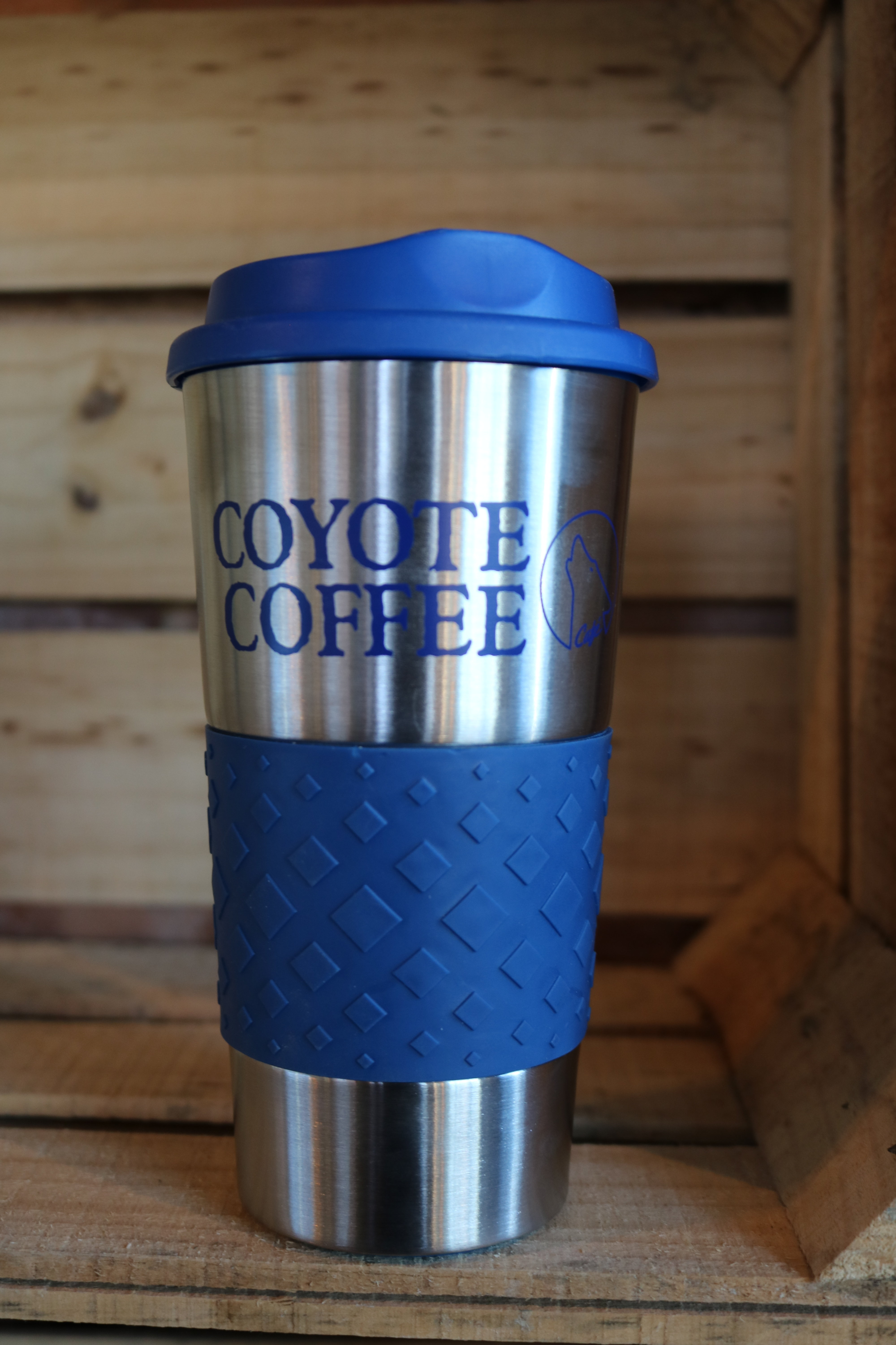 Coyote Coffee Blue and Silver Tumbler 00001