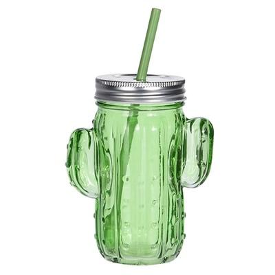 Банка для напитков с соломинкой Кактус, зеленая IMP_7_GREEN