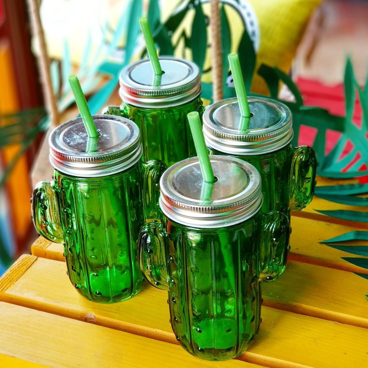 Банка для напитков с соломинкой Кактус, зеленая