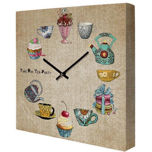 Часы настенные квадратные Time for tea party
