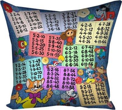 Подушка с принтом 40х40 см Таблица умножения 4P_MP057