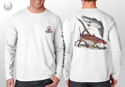 Vudu - RED FISH -TROUT White- Long Sleeve Large