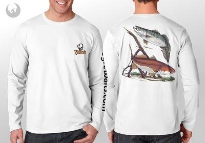 Vudu - RED FISH -TROUT White- Long Sleeve Medium