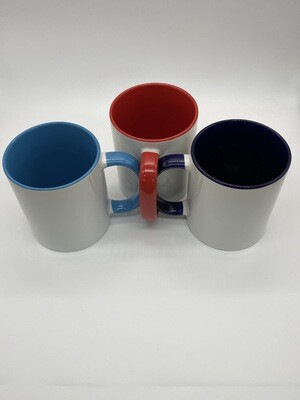 11 oz  white mugs for sublimation with colored inside and handle.