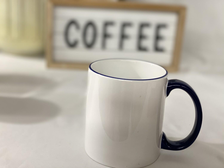 Ceramic white 11oz mug with blue handle and trim