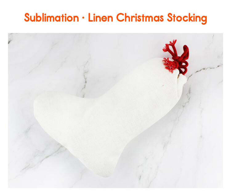 Sublimation blank Christmas linen stocking