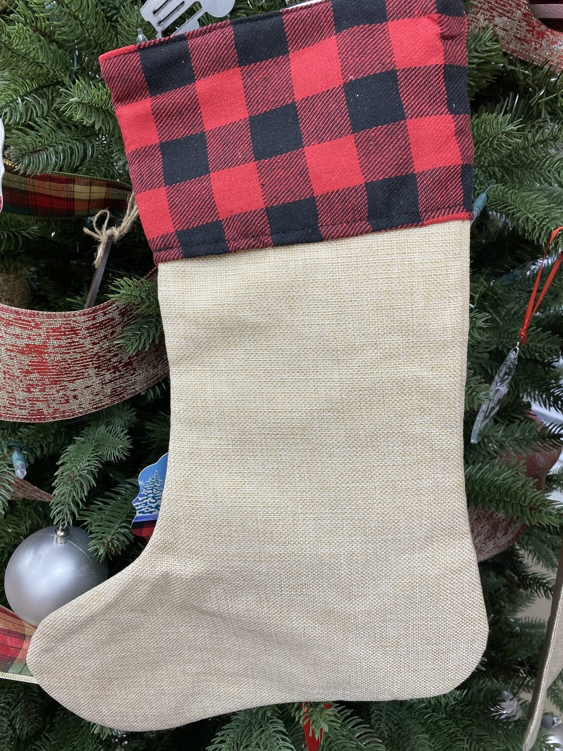 Red and black Christmas plaid stocking Sublimation blank Christmas linen stocking.