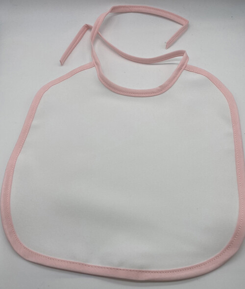 Sublimation blank baby bib with pink trim