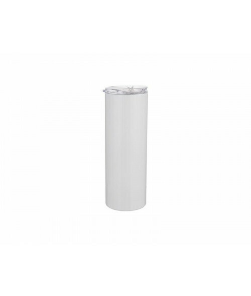 20 oz White stainless steel tumbler with metal straw