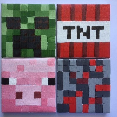 Minecraft Acrylic Squares and mosaics, Thu 17th Jan, 1-3pm. (5-12 yrs)