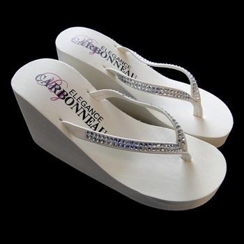 Crystals ~ White High Wedge Flip Flops