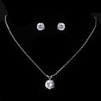 Silver Clear CZ Necklace &  Earring Set