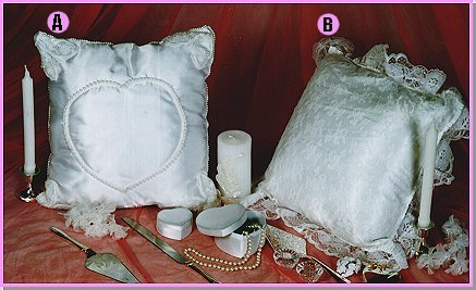 SEQUIN HEART KNEELING PILLOW & LACE TRIM KNEELING PILLOW