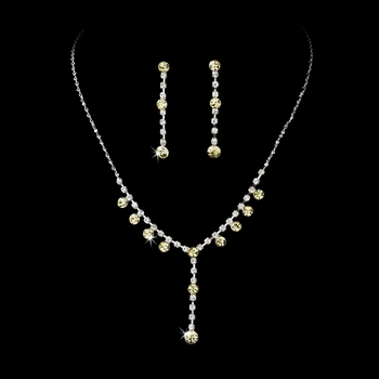 Crystal Drop Necklace Earring Set