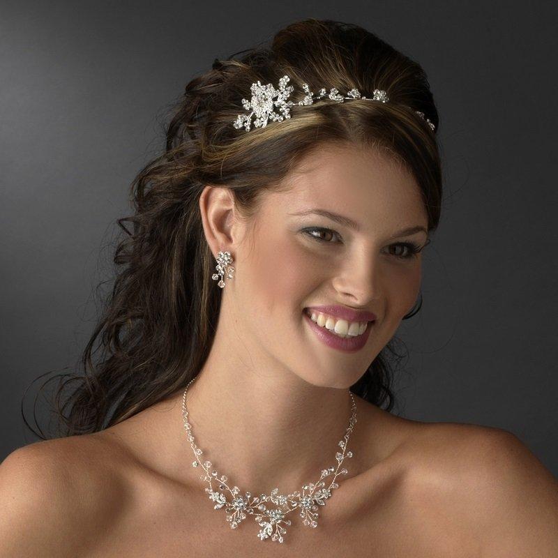 Bridesmaids Headpiece Silver Clear Flower Vine