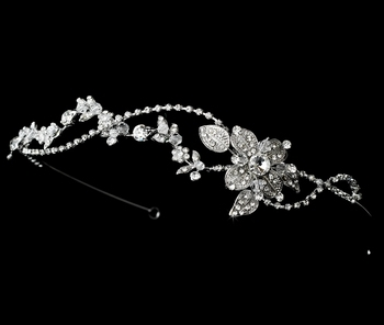 Rhodium Vintage Rhinestone Touched Bridal Headband