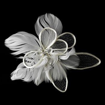 Fabulous Flower Bridal Hair Comb w/ Feathers