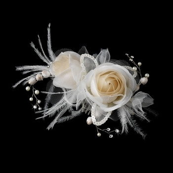 Ivory & Rum Pink Rose & Feather Bridal Clip