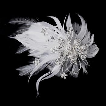 Feather Silver Crystal Bridal Hair Clip