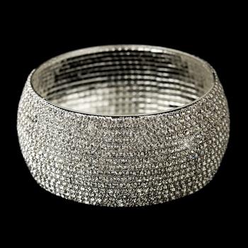 Silver Clear Rhinestone Bangle Bridal Bracelet