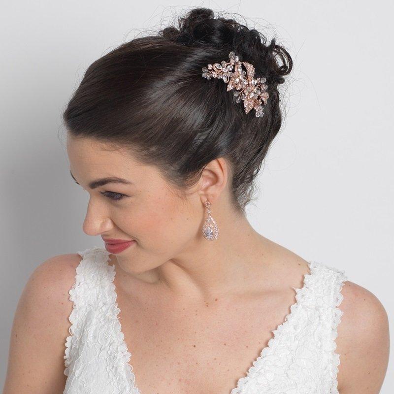 Rose Gold Clear Rhinestone & Crystal Flower Hair Comb
