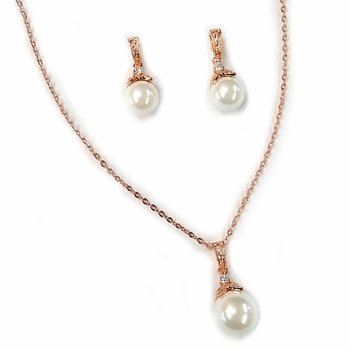 Rose Gold Ivory Pearl & CZ Pendant Jewelry Set
