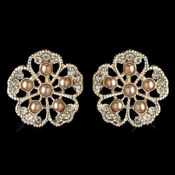 Rose Gold Champagne Pearl & Rhinestone Flower Stud Earring