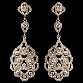 Light Gold Clear Rhinestone Chandelier Bridal Wedding Earrings